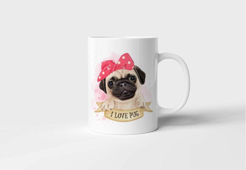 Bílý keramický hrnek Mops I Love Pug