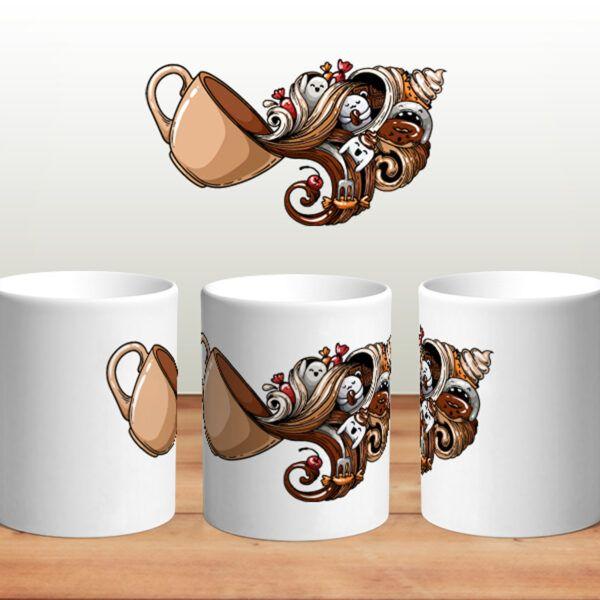 Bílý keramický Retro hrnek Doodle Kava