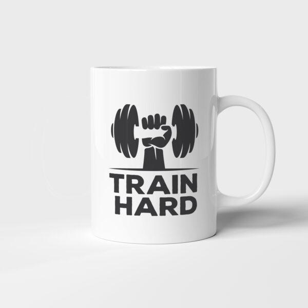 Bílý keramický hrnek Train Hard