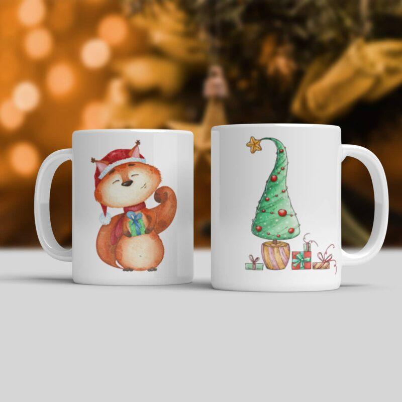 Vánoční hrnek Veverka a vánoční stromeček