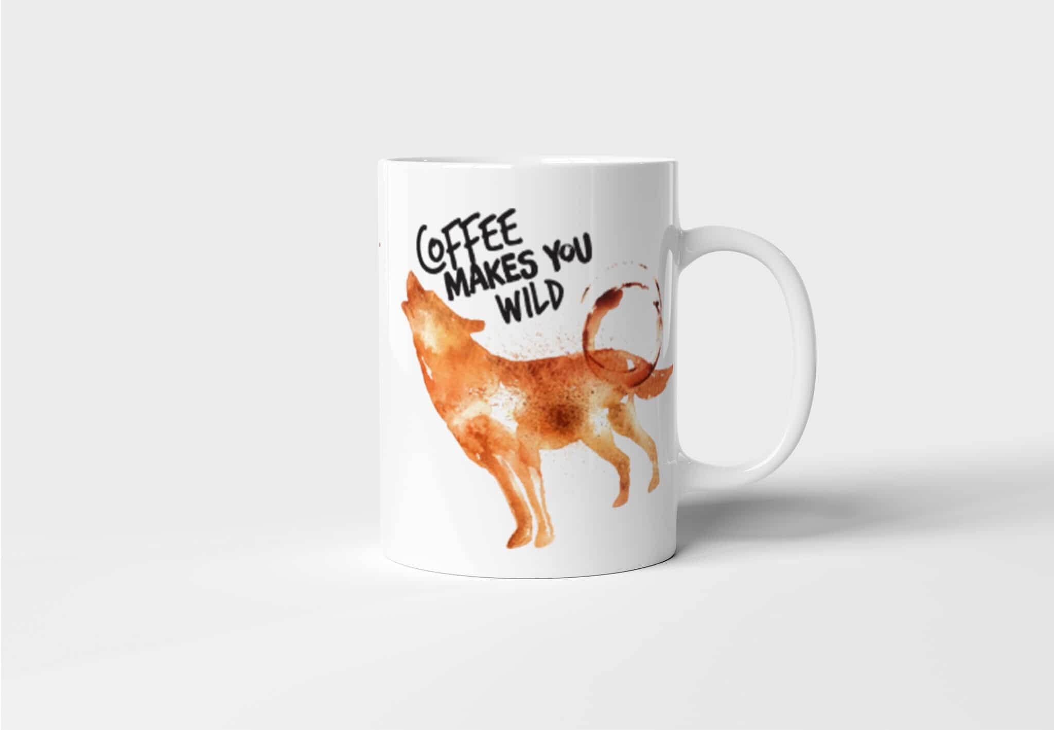 Originální keramický hrnek na kávu s Vlkem