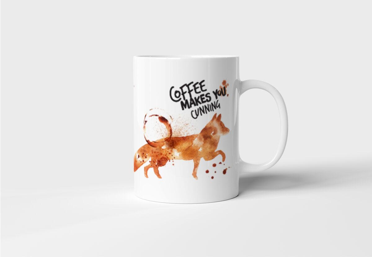 Originální keramický hrnek na kávu s Liškou