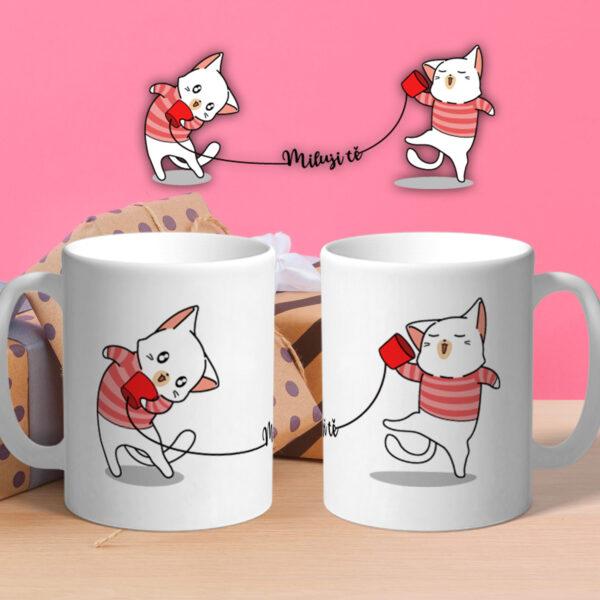 2 keramické hrnky Miluji tě - Kočky s potiskem k Valentýnu!