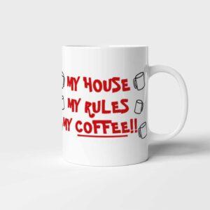 Originální keramický hrnek na kávu My House My Rules My Coffee (Na nože (Knives Out))