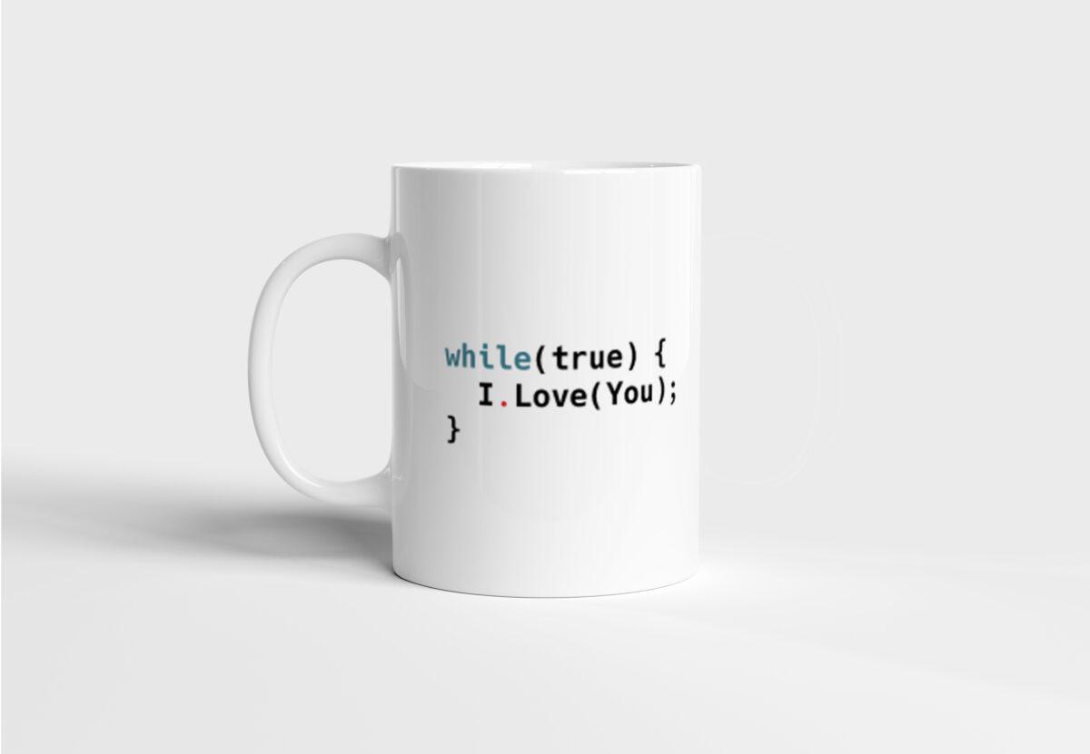 Hrnek pro programátora While true I Love You s potiskem