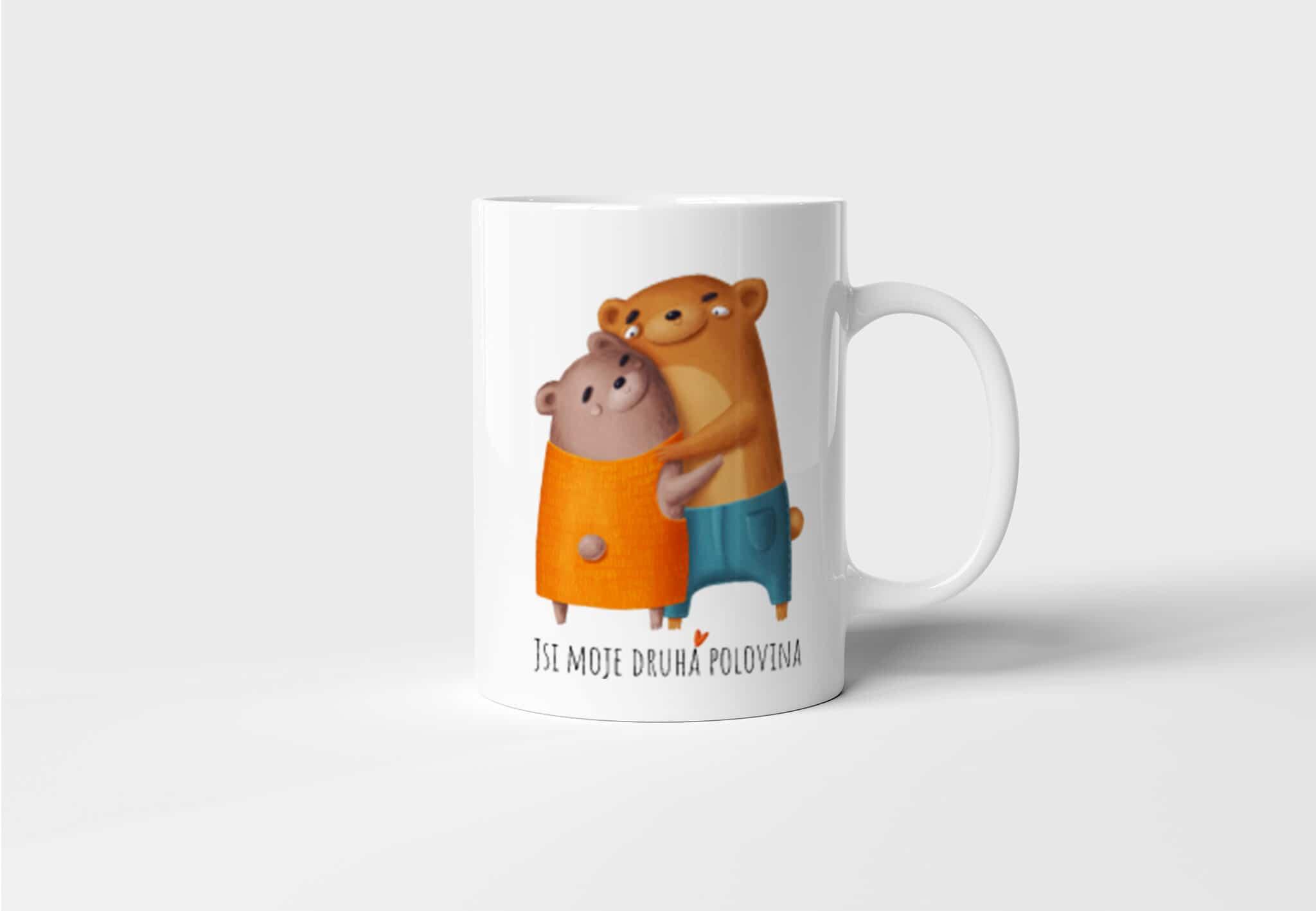 Hrnek Jsi moje druhá polovina - Medvídci s potiskem