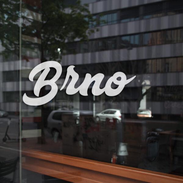 Samolepka Brno na sklo, zed', výlohu v Brně