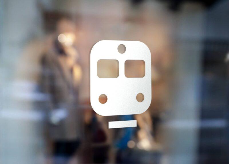 Samolepka Metro na sklo, zed', výlohu v Brně