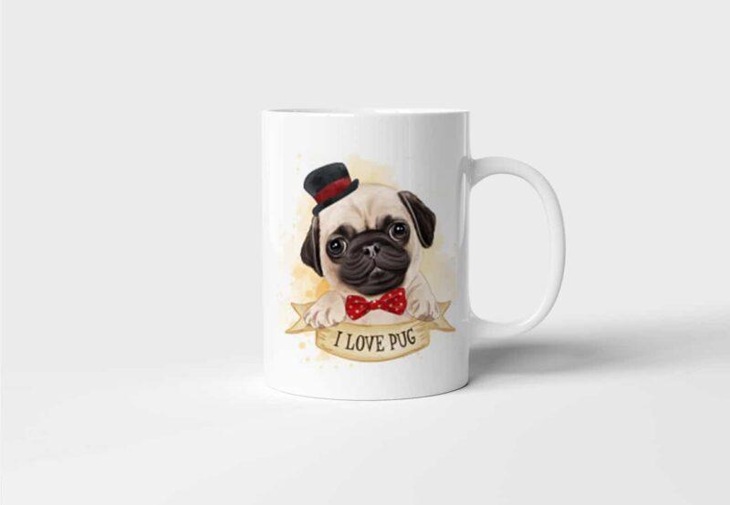 Hrnek s Mopsem I Love Pug s potiskem