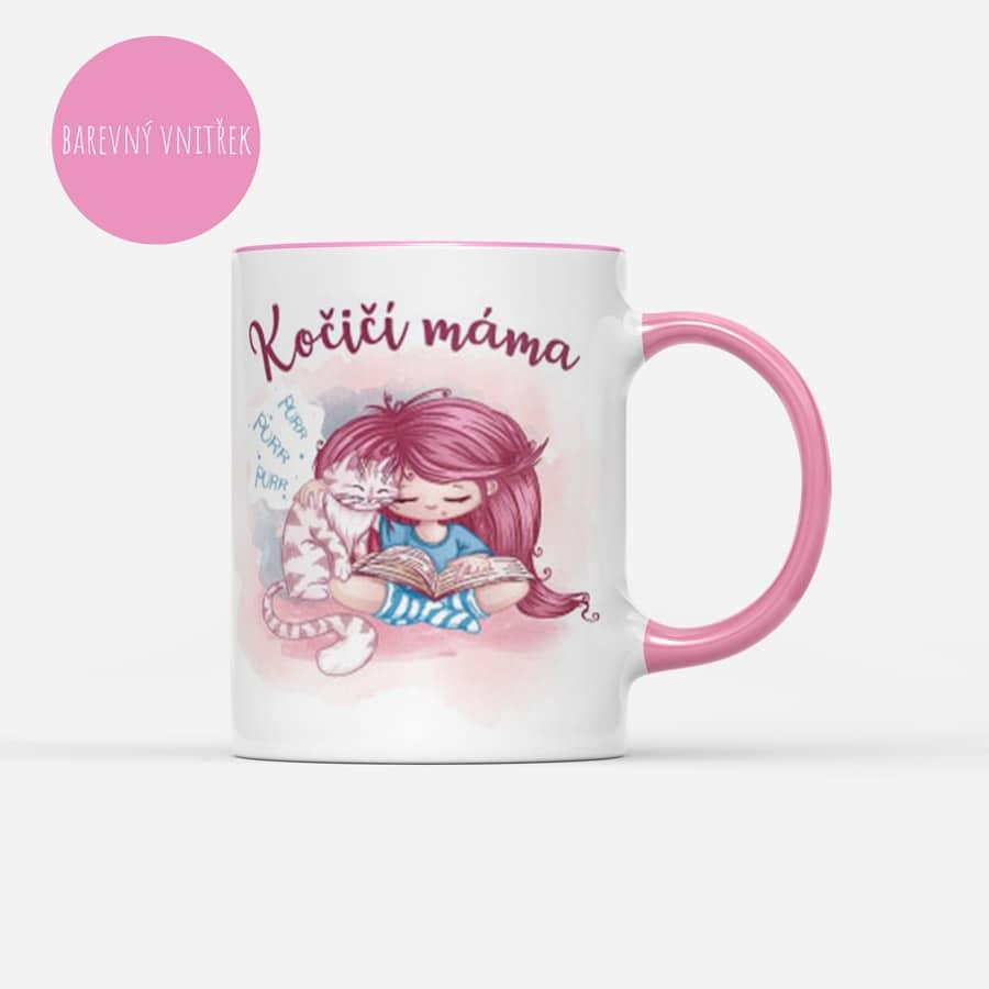 Růžový hrnek Kočičí máma