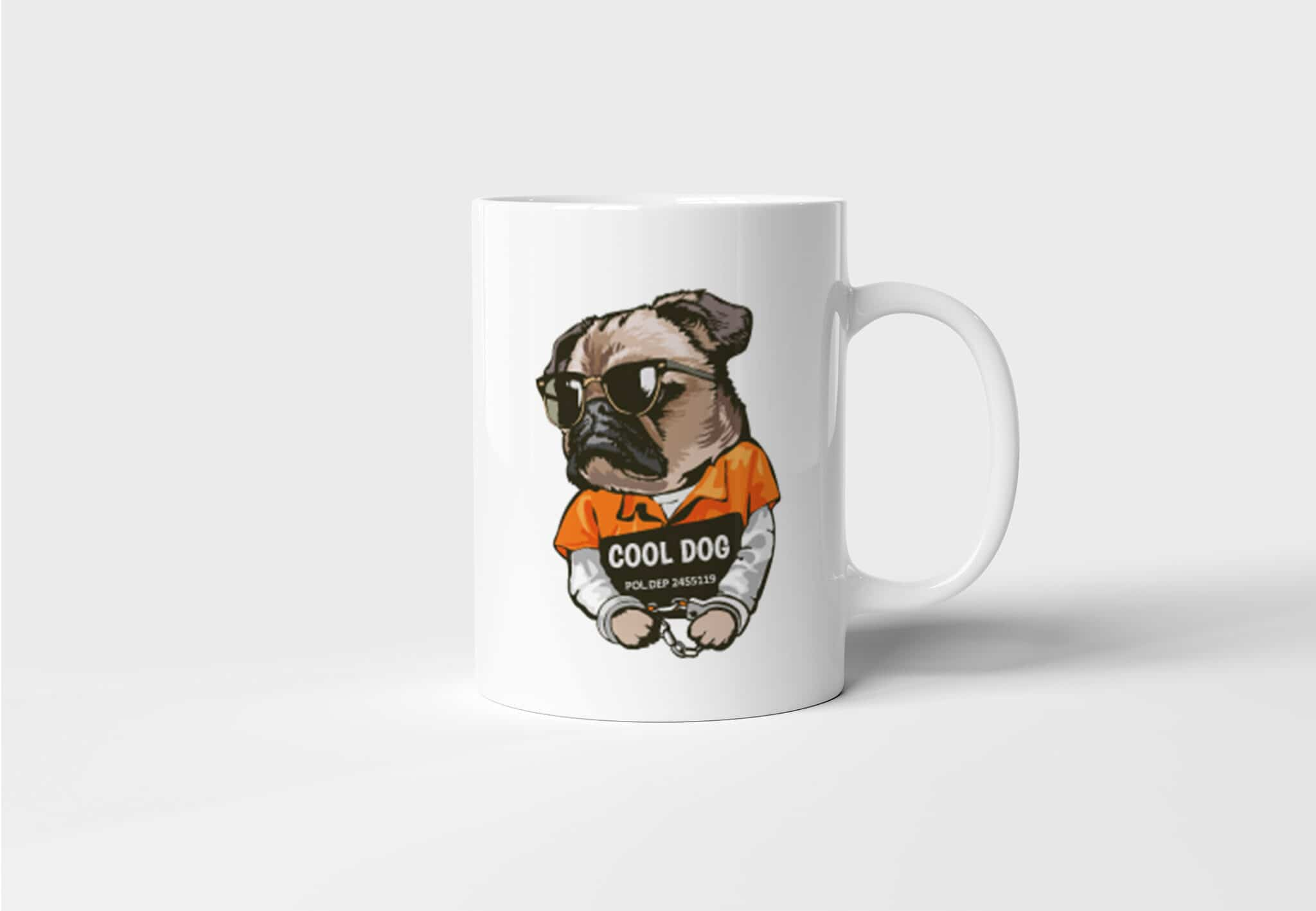 Hrnek s Mopsem Cool Dog s potiskem pro praváka