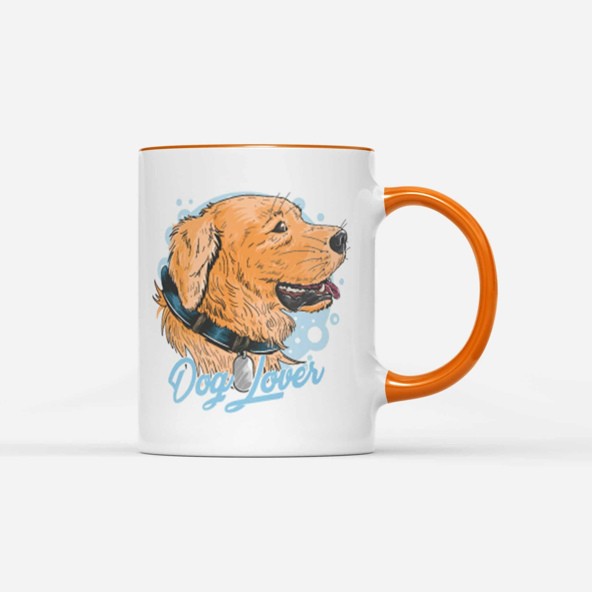 Oranzovy Hrnek Dog Lover s potiskem