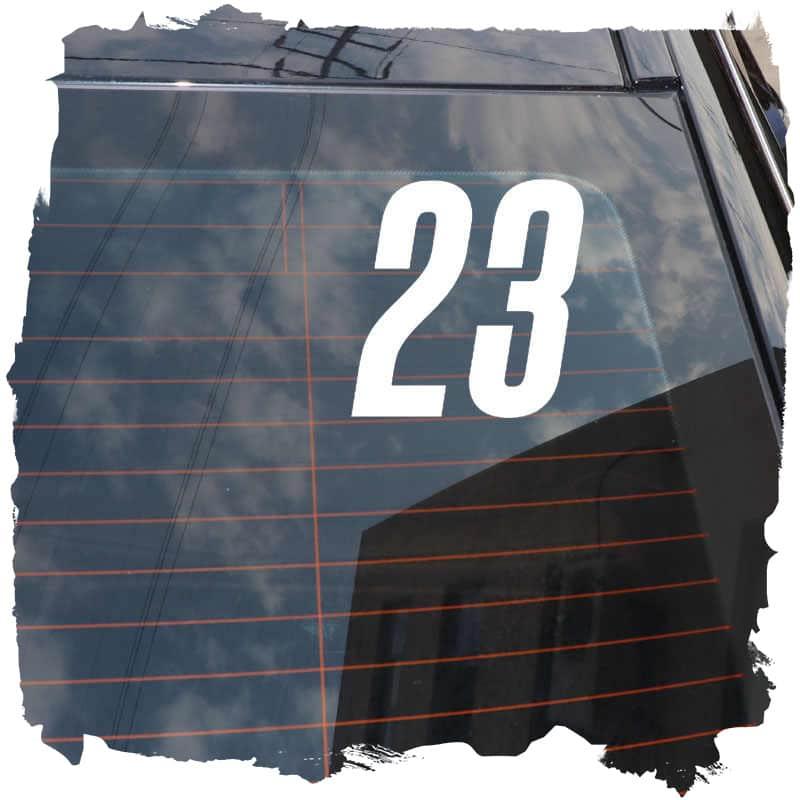 Samolepka 23 cislo na sklo na auto
