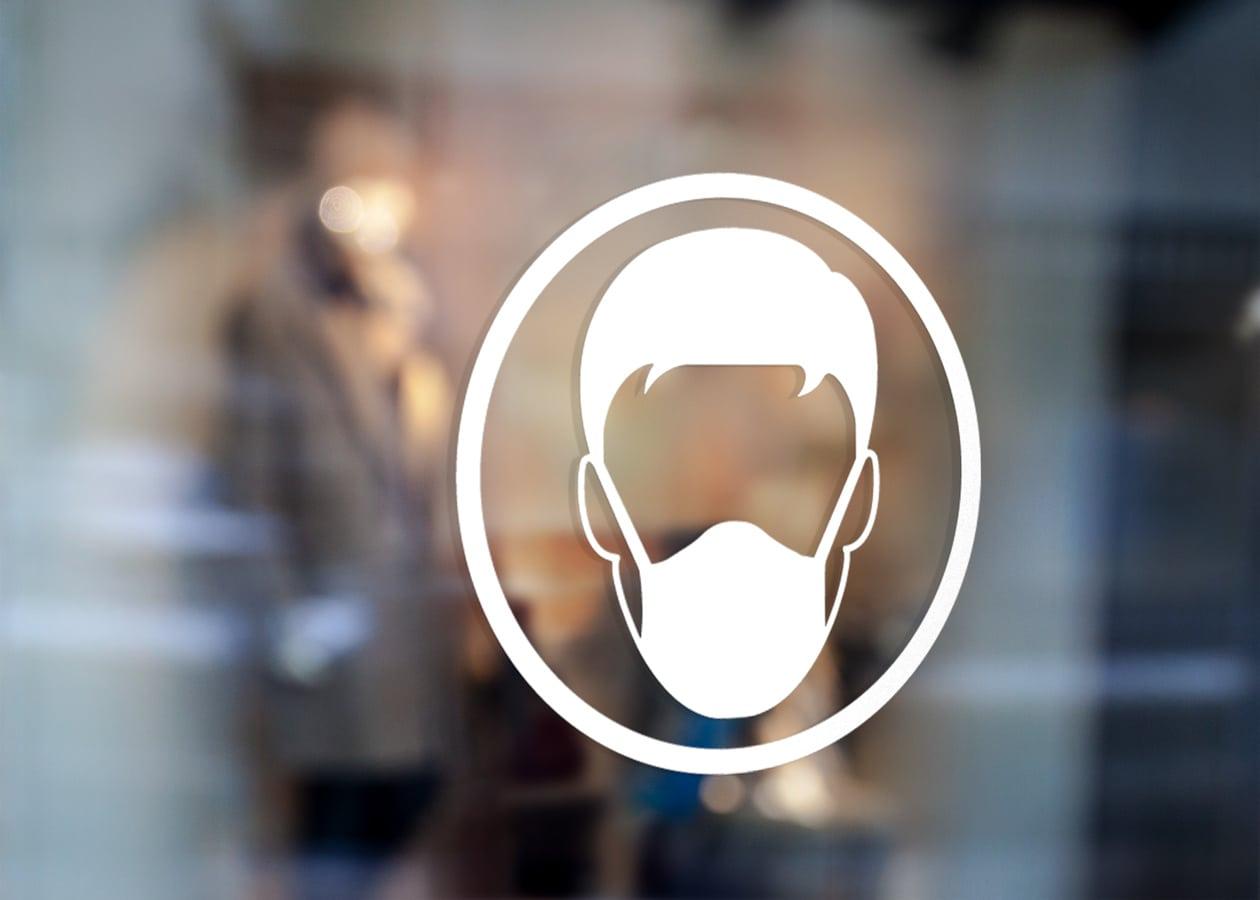Samolepka Koronavirus Rouška-2 na sklo, zed', výlohu, auto