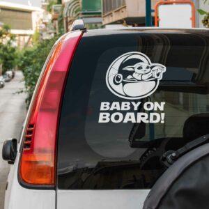 Samolepka Baby Yoda On Board na auto
