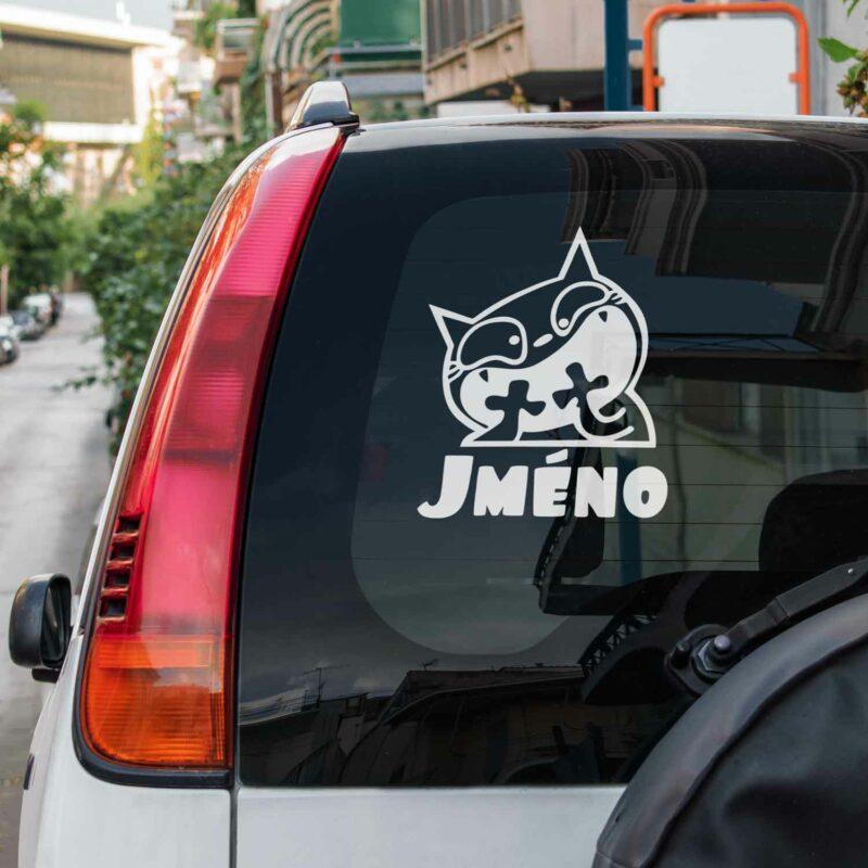 Samolepka Kocour se jménem na auto