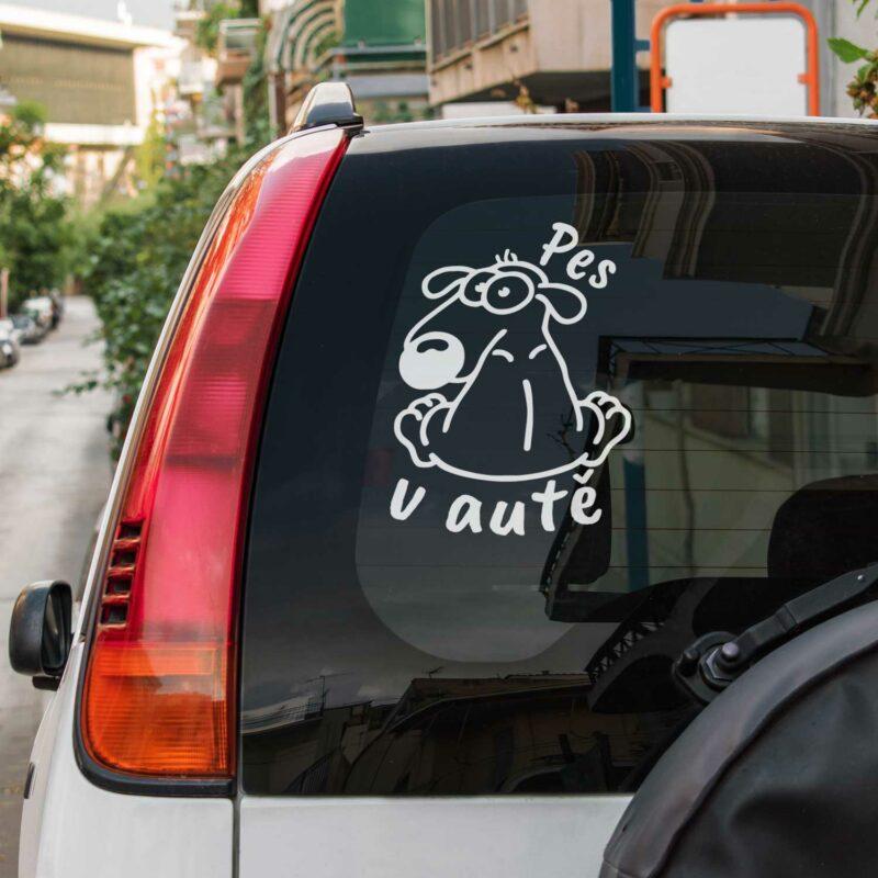 Samolepka na auto Pes v autě