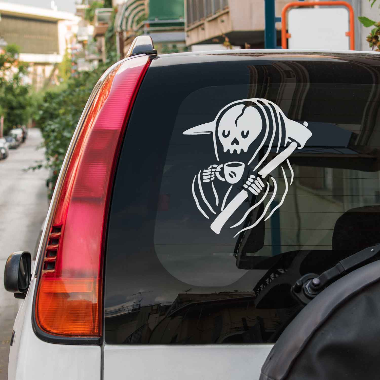 Originální samolepka Skull Coffee na auto