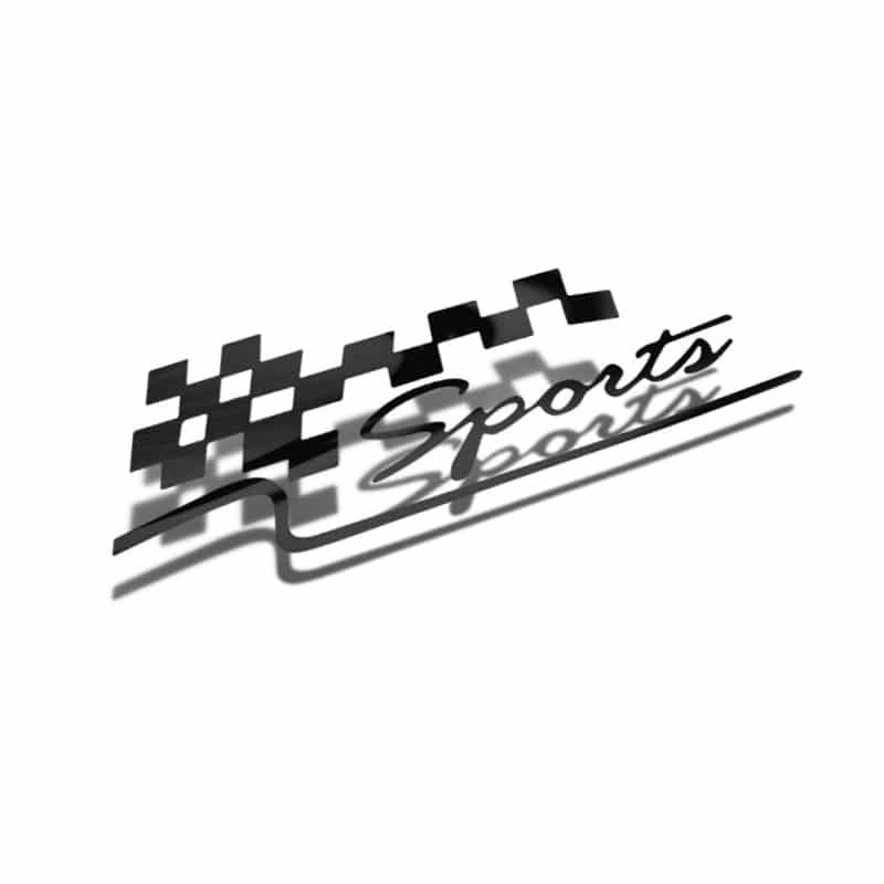 Samolepka Sports na auto, sklo