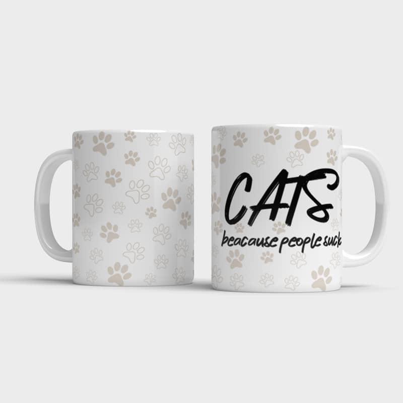 Vtipný hrnek CATS - beacause people s*ck