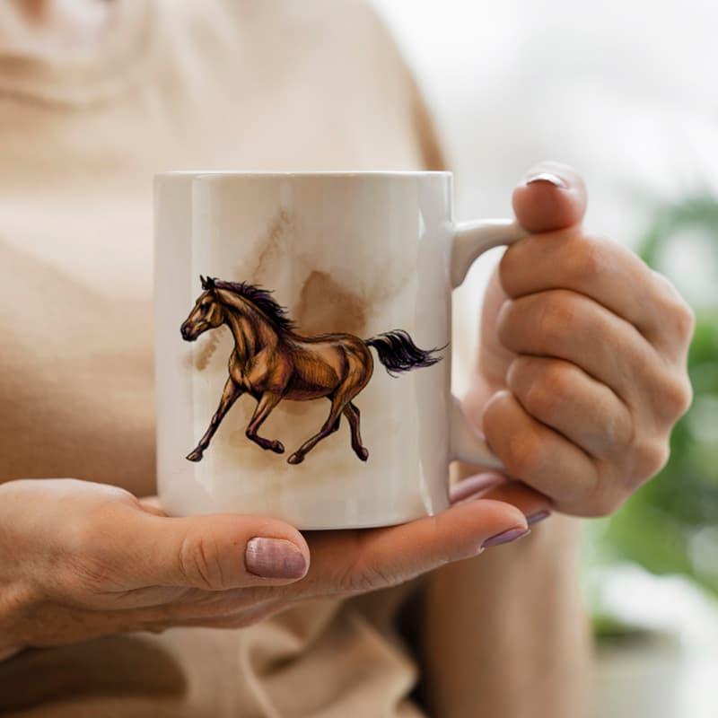 Keramický hrnek Hnědý kůň