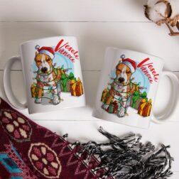 Vánoční hrnek s originálním autorským motivem Amerického Pitbulla