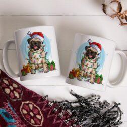 Vánoční hrnek s originálním autorským motivem Mopsa