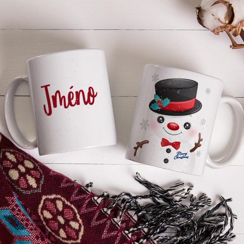 Vánoční hrnek se sněhulákem a jménem